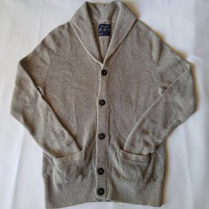 AEO Athletic Fit Oatmeal Shawl Neck Knit Cardigan